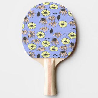 Raquette De Ping Pong Jaune bleu-clair de mélange floral vintage de pays