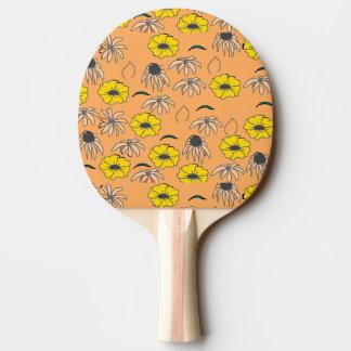 Raquette De Ping Pong Jaune orange pâle de mélange floral vintage de
