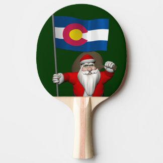 Raquette De Ping Pong Le père noël avec le drapeau du Colorado