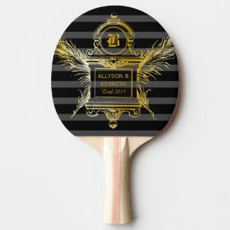 Raquette De Ping Pong Monogramme classique antique de cadre d'or de