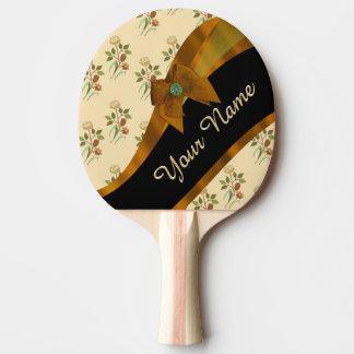 Raquette De Ping Pong Motif de fleur floral vintage assez brun