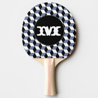 Raquette De Ping Pong Motif de noir de ciel et blanc bleu des cubes 3D