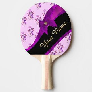 Raquette De Ping Pong Motif floral vintage assez mauve