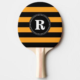 Raquette De Ping Pong Motif noir et orange de rayures