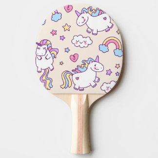 Raquette De Ping Pong Motif potelé d'arc-en-ciel de licornes de vol de