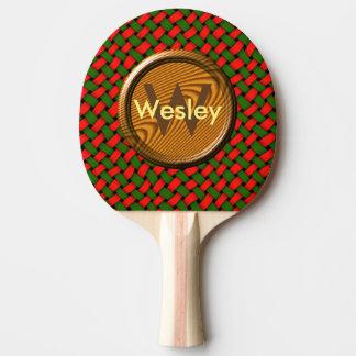 Raquette De Ping Pong Motif rouge et vert de Noël avec le monogramme
