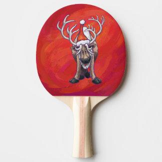 Raquette De Ping Pong Noël mignon de renne sur le rouge