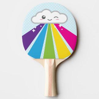 Raquette De Ping Pong Palette de ping-pong de nuage et d'arc-en-ciel de