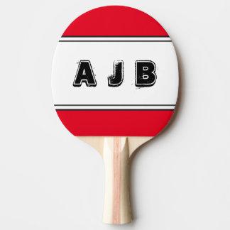Raquette De Ping Pong Palette rouge de rayures de monogramme