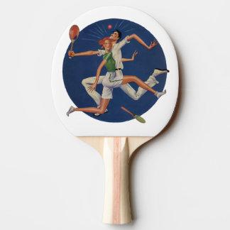 Raquette De Ping Pong Sports vintages, accident de joueurs de tennis