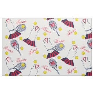 Raquette de tennis de filles et monogramme de tissu