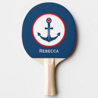 Raquette Tennis De Table Ancre blanche et rouge bleue nautique avec le