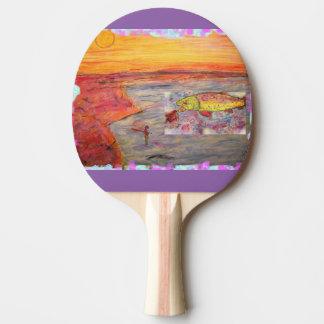 Raquette Tennis De Table art de coucher du soleil de pêche de mouche