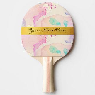 Raquette Tennis De Table Bande en pastel personnelle de nom d'or