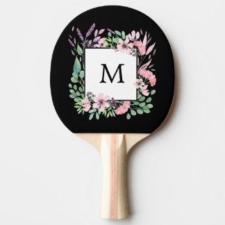 Raquette Tennis De Table Belle aquarelle florale sur le noir avec le
