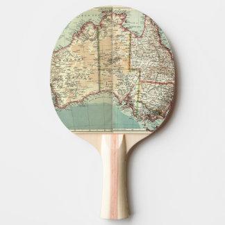 Raquette Tennis De Table Carte détaillée de continent australien vintage