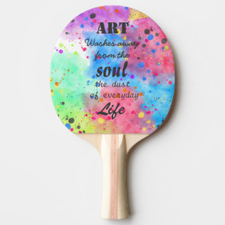 Raquette Tennis De Table Citation célèbre de couleur pour aquarelle fraîche