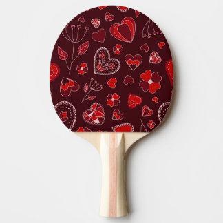 Raquette Tennis De Table Coeurs et palette rouges de ping-pong de fleurs