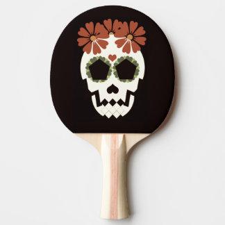 Raquette Tennis De Table Crâne avec la palette de ping-pong de fleurs