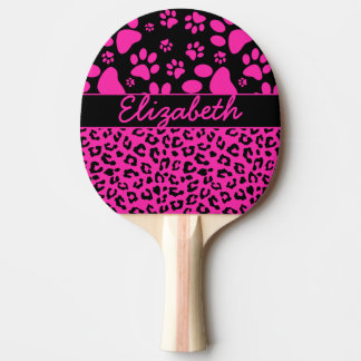 Raquette Tennis De Table Empreinte de léopard rose et noir et pattes