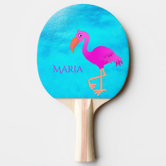 Raquette Tennis De Table Flamant girly et rose tropical sur la mer bleue