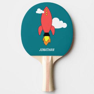 Raquette Tennis De Table Fusée rouge de bande dessinée