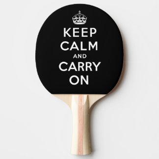 Raquette Tennis De Table Gardez le calme et continuez l'arrière - plan noir