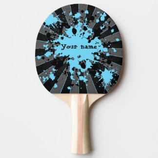 Raquette Tennis De Table La peinture bleue éclabousse le noir et le gris