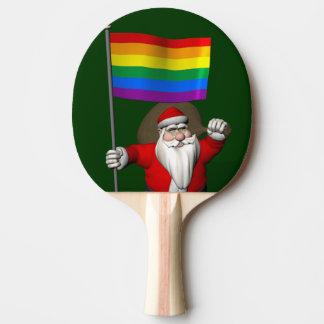 Raquette Tennis De Table Le père noël fier avec le drapeau d'arc-en-ciel