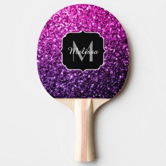 Raquette Tennis De Table Monogramme rose pourpre d'étincelles de