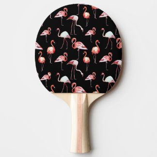 Raquette Tennis De Table Motif BIR tropical de noir de flamant d'aquarelle