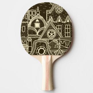 Raquette Tennis De Table Motif peu précis de vieille ville sur l'arrière -