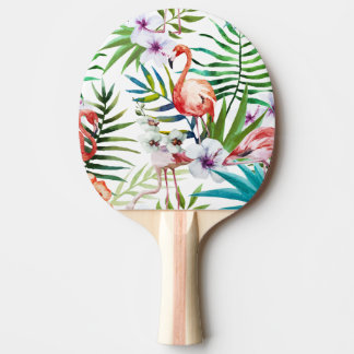 Raquette Tennis De Table Motif tropical de jardin de nature de flamant