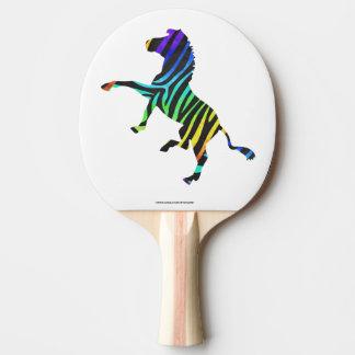 Raquette Tennis De Table Noir de zèbre et silhouette d'arc-en-ciel