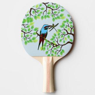 Raquette Tennis De Table Oiseau bleu dans les arbres bleus