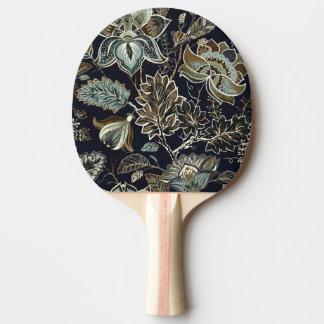 Raquette Tennis De Table Paisley antique fleurit le motif noir d'arrière -