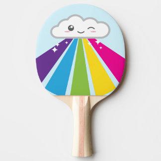 Raquette Tennis De Table Palette de ping-pong de nuage et d'arc-en-ciel de
