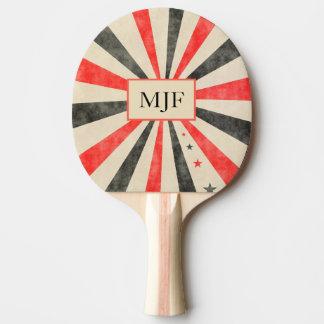 Raquette Tennis De Table Palette noire et rouge de casino de monogramme de