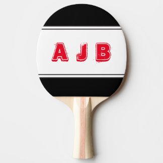 Raquette Tennis De Table Palette rouge de rayures de monogramme