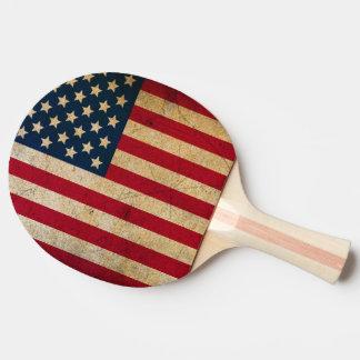 Raquette Tennis De Table Palette vintage de ping-pong de drapeau américain