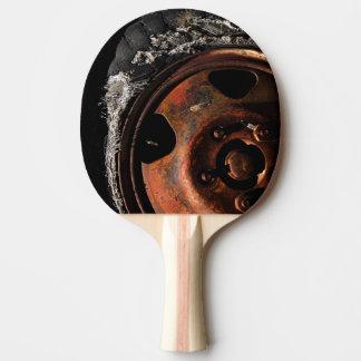 Raquette Tennis De Table Photographie de macro de pneu déchirée par roue