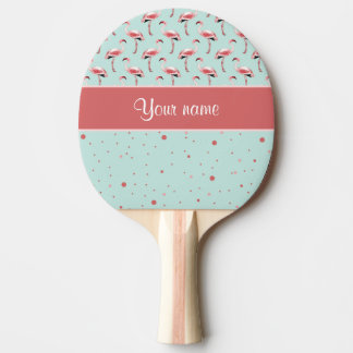Raquette Tennis De Table Pois rose personnalisé de flamants