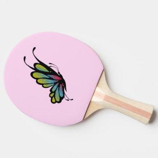 Raquette Tennis De Table Rose coloré de papillon d'arc-en-ciel