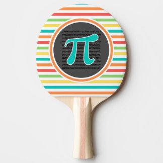 Raquette Tennis De Table Symbole de pi, rayures lumineuses d'arc-en-ciel