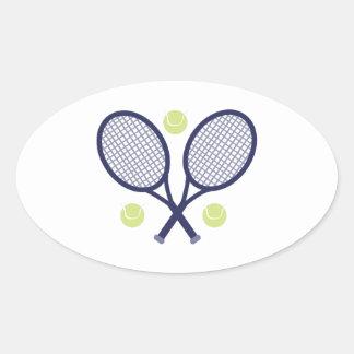 Raquettes de tennis sticker ovale
