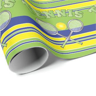 Raquettes de tennis vertes de rayure papier cadeau noël