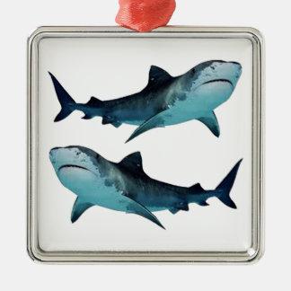 Rassemblement de requin ornement carré argenté