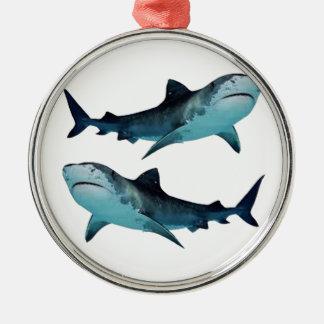 Rassemblement de requin ornement rond argenté