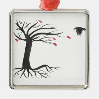 Raven et arbre ornement carré argenté