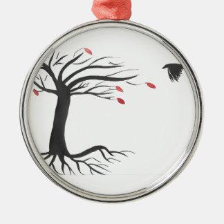 Raven et arbre ornement rond argenté